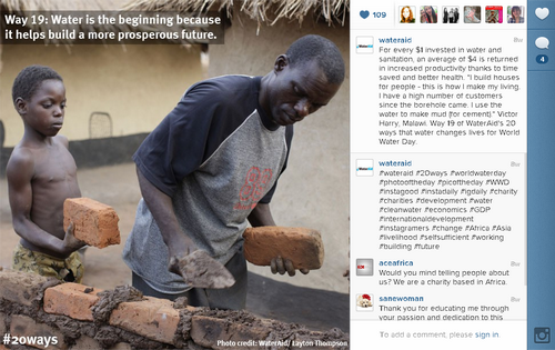 WaterAid on instagram