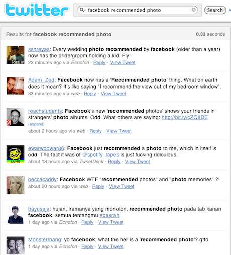 Twitter Search for Facebook Recommended Photo