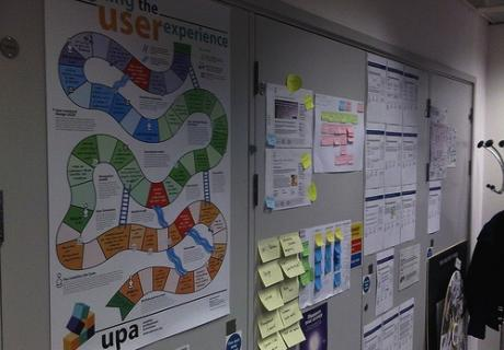 UPA's Designing the user experience poster up on creative wall by Rob Enslin