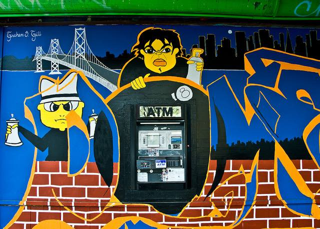 ATM Machine Graffiti Art in San Francisco by Tony Fischer  - https://www.flickr.com/photos/tonythemisfit/4962227667/