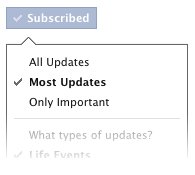 Facebook Subscribe Options