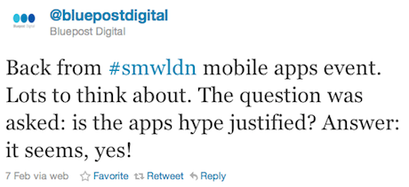 Bluepost Digital Apps Go Social Tweet