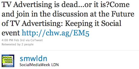 SMW London Tweet