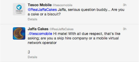 Twitter Banter: Tesco Mobile vs Jaffa Cakes