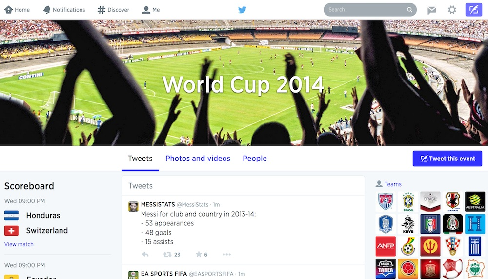 Twitter World Cup Hashtag Screenshot