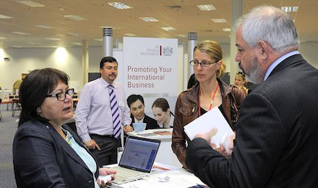 UKTI's Cyprus representative helping customers at Explore Export by UKTI
